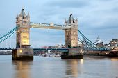 London River Thames and Tower Bridge International Landmark of England United Kingdom at Dusk