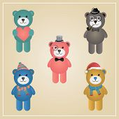 Winter Hipster Teddy Bear Illustration