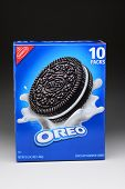 IRVINE, CA - JANUARY 11, 2013: A 3 lb box of Nabisco Oreo Chocolate Sandwich Cookies. Introduced in