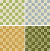 Checkerboard Leaves Seamless Pattern