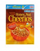 IRVINE, CA - JANUARY 11, 2013: A 12.25 oz box of Honey Nut Cheerios. Introduced in 1979 by General Mills it is a slightly sweeter version of the original Cheerios breakfast cereal.