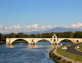 The famous medieval bridge Pont Saint-Benezet in Avignon, France