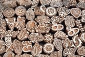 picture of flea  - Various of different henna wooden stamps at Anjuna flea market in Goa India - JPG