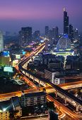Night Urban City Skyline, Bangkok, Thailand.