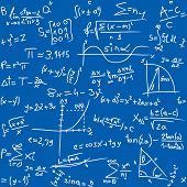 picture of math  - vector illustration of Repeatable seamless math pattern on blue table - JPG