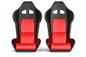Sport Car Leather Seats Isolated On White Background