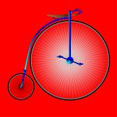 foto of penny-farthing  - A typical penny farthing bicycle over a red background - JPG