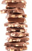 Stack of chocolate with nuts.
