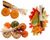 Three Harvest Decoration With Pumpkin, Corn, And Squash