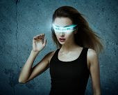 Fantastic Woman Using Virtual Glasses