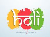 Indian color festival Holi background with stylish text on colorful splash background.