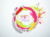 Indian festival Happy Holi celebration concept with colors splash and stylish text on grey backgroun