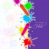 Indian festival Happy Holi celebrations with colors splash and pichkari (color guns) on seamless flo