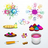 Indian festival Happy Holi celebration set with colors, sweets and pichkari on abstract blue backgro