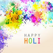 picture of holi  - Indian festival Happy Holi celebrations with colors splash on abstract background - JPG