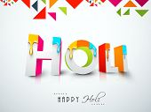 Indian color festival Holi celebration background with stylish 3D text Holi decorated by paint colour on abstract background.