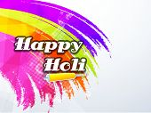 Indian color festival Holi celebration concept with stylish text Happy Holi on colours splash background.