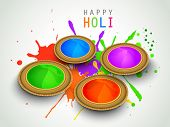 Indian festival Happy Holi celebration concept with shiny colors bowl on grungy splash  background.