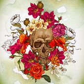 stock photo of voodoo  - Skull and Flowers Day of The Dead - JPG