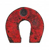 vintage red horseshoe magnet isolated on white background