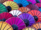 Colorful Umbrellas at Street Market in Luang Prabang