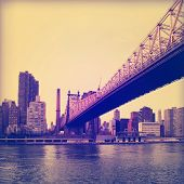 Vintage image of Queensboro Bridge in New York City.
