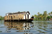 stock photo of alleppey  - Tourist boat at Kerala backwaters - JPG