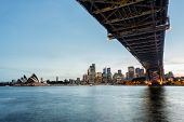 picture of cbd  - Dramatic widescreen panoramic image of the city of Sydney at sunset bridge in foreground - JPG