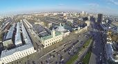 MOSCOW, RUSSIA - NOV 09, 2013: (view from unmanned quadrocopter) Komsomolskaya Square at sunny day.