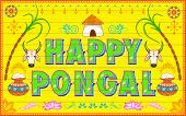 illustration of Happy Pongal background in Indian truck style