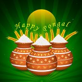 pic of pongal  - illustration of Happy Pongal greeting background - JPG