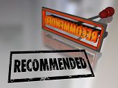 stock photo of recommendation  - Recommended Word Branding Iron Referral Review Rating - JPG
