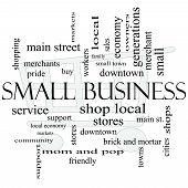 pic of local shop  - Small Business Word Cloud Concept with shopping cart in background with great terms such as shop local community support stores and more - JPG