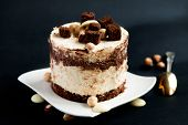 image of hazelnut  - Cake with white and dark chocolate and hazelnuts - JPG