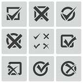 foto of check  - Vector black check marks icons set on white background - JPG