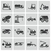 pic of dozer  - Vector black construction transport icons set on white background - JPG