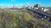 Moscow cityscape at sunny day. View from unmanned quadrocopter