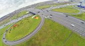 Cars at Schelkovskaya interchange MKAD in Moscow, Russia. View from unmanned quadrocopter