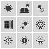 picture of solar battery  - Vector black solar energy icons set on white background - JPG