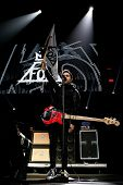 BOSTON-DEC 14: Bassist Pete Wentz of Fall Out Boy performs at KISS 108's Jingle Ball 2013 at TD Gard