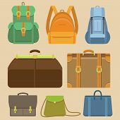 Vector Set Of Flat Icons - Bags And Backpacks