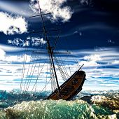 Sinking pirate brigantine on stormy seas