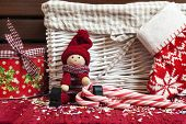 Christmas Decorative Wooden Doll With Gift Box And Xmas Sock.