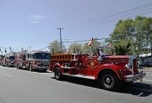 1950 Mack fire truck from Huntington Manor Fire Department leading firetrucks parade in Huntington