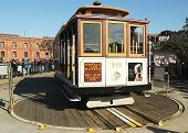 The famous San Francisco cable car on turnaround at Powell and Market Street