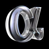 Símbolo alfa em vidro (3d)