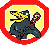 Black Bird Lacrosse Player Shield Cartoon