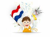 Netherlands Soccer Fan Flag Cartoon