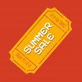 Retro Vector Summer Sale Ticket Illustration