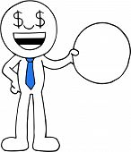 stock photo of greedy  - Hand drawn cartoon dollar money eyes greedy businessman standing and holding blank circle - JPG